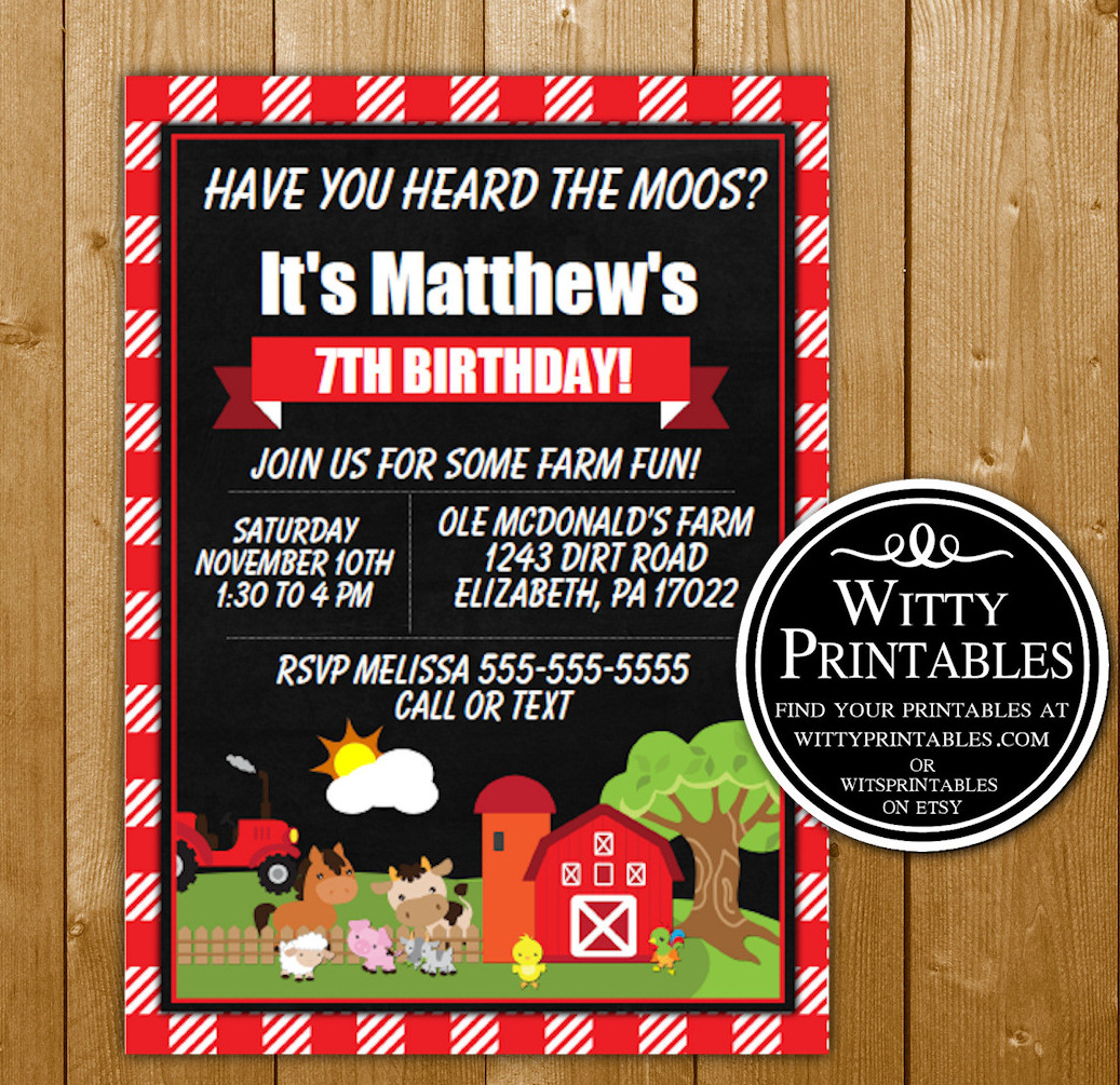 farm fun birthday party invitation printable wittyprintables