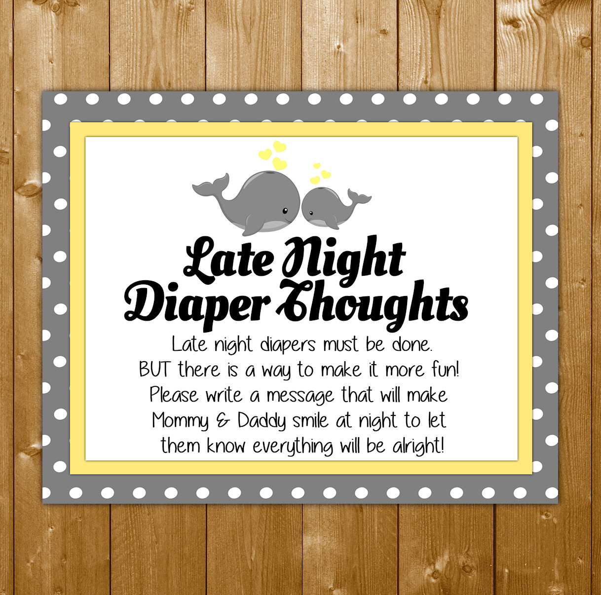 Boy Late Night Diapers Baby Shower Sign Diaper Thoughts  |Sign For Diaper Baby