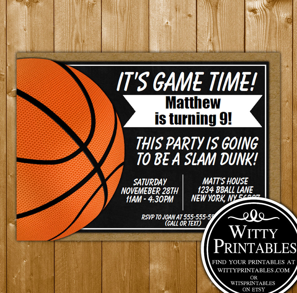 Basketball Invitation Printable Birthday