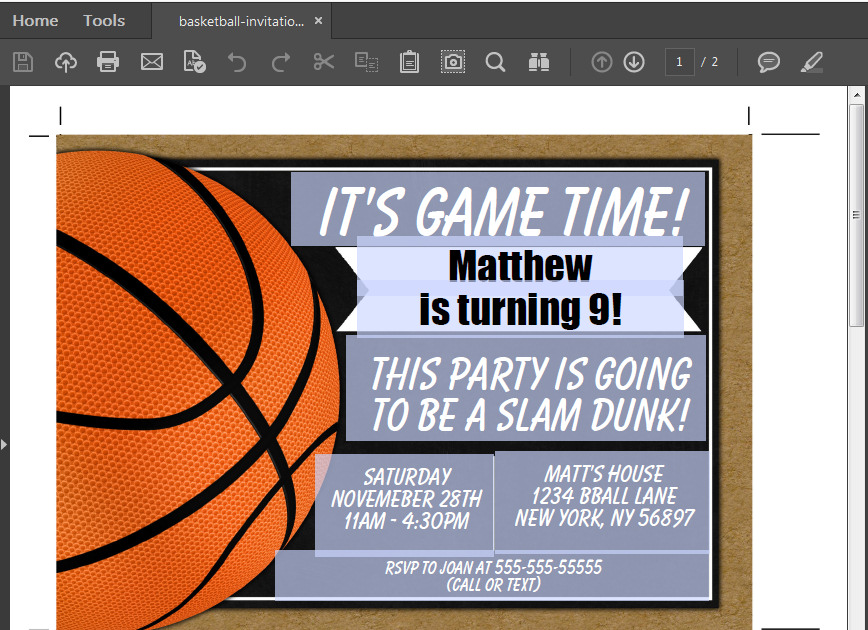 basketball party invitation printable digital download birthday