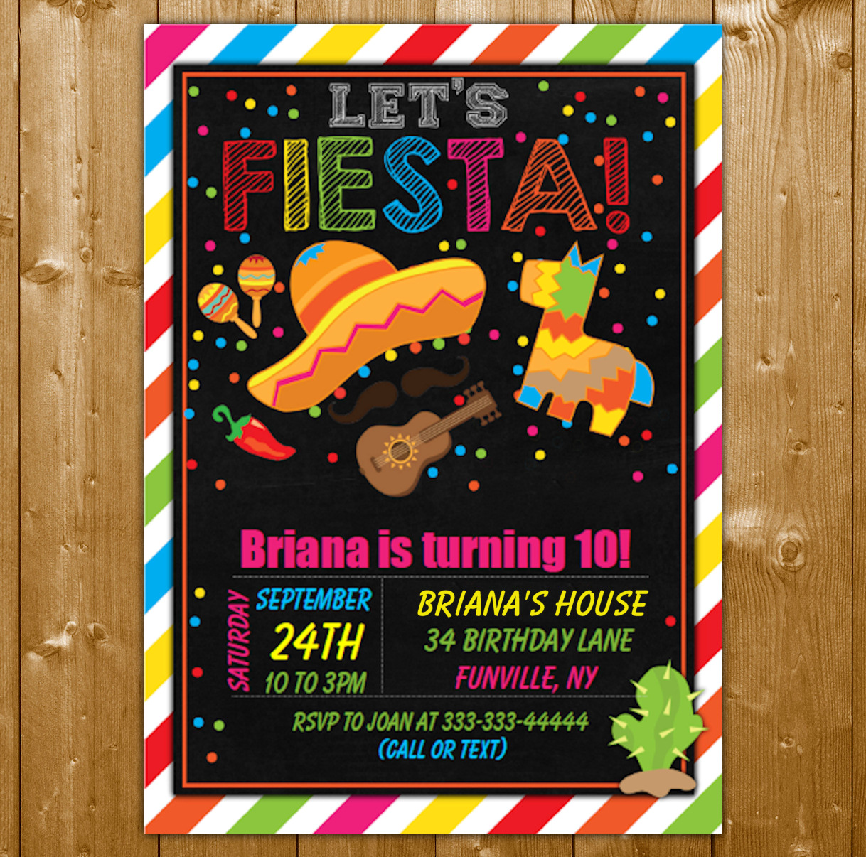 fiesta party invitation printable digital download boy