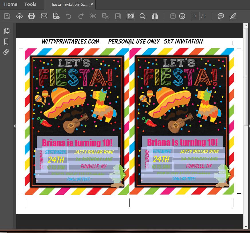 Fiesta Party Invitation Printable Digital Download Boy Birthday ...