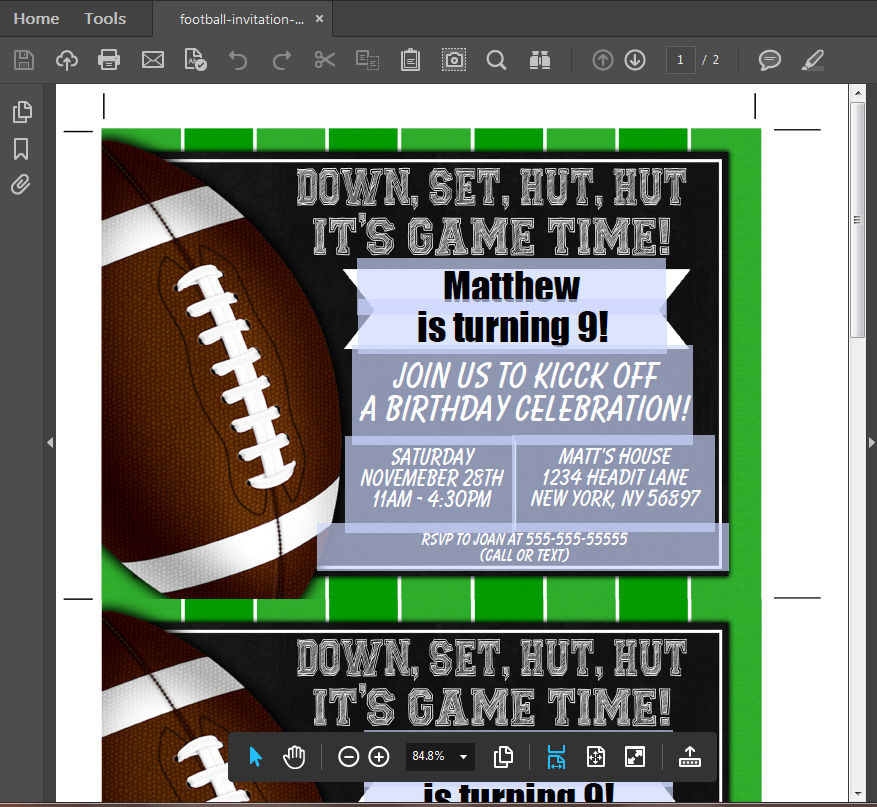 football party invitation printable digital download birthday party
