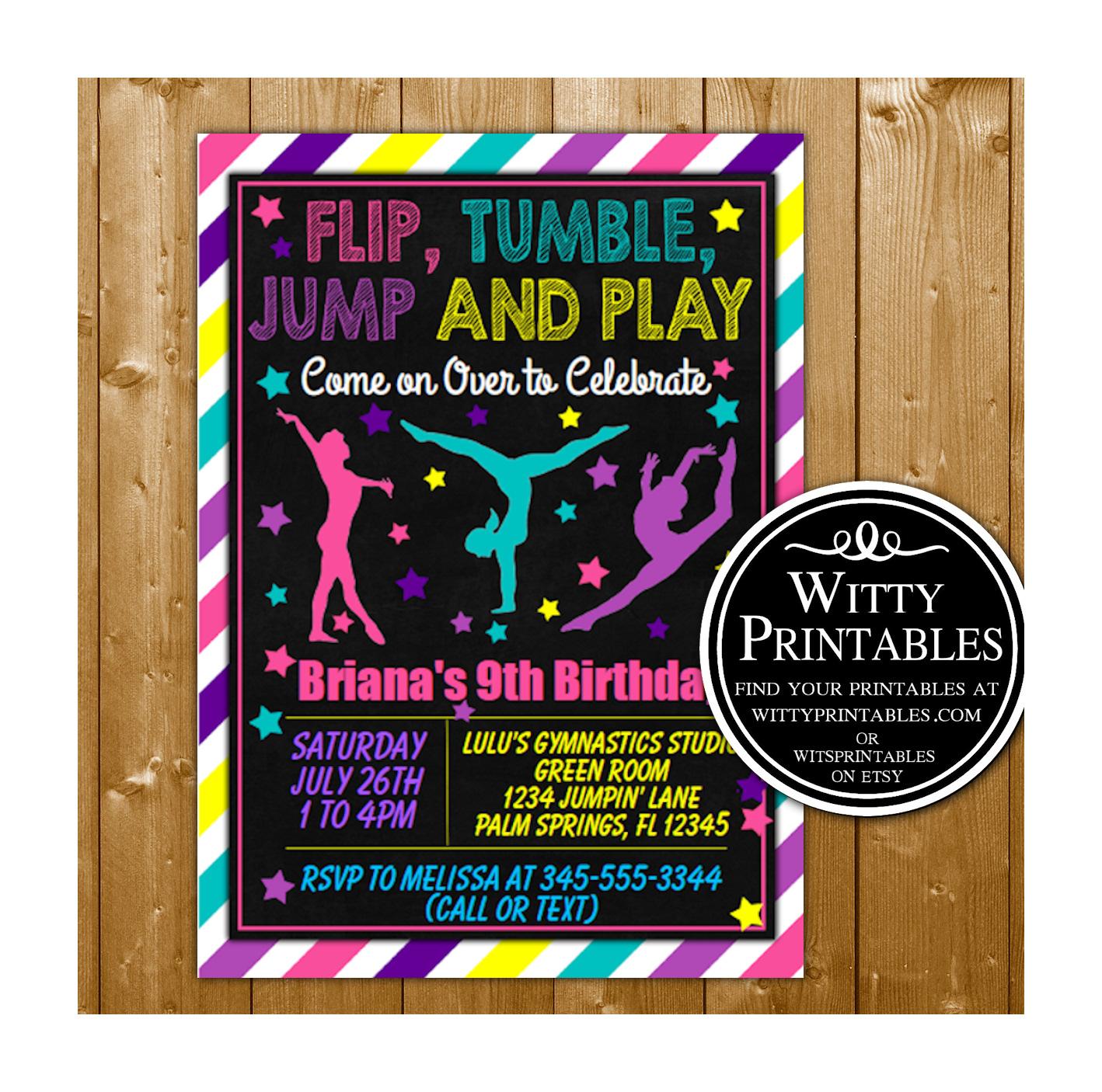 Gymnastics Party Invitation Printable Digital Download Girl Birthday ...