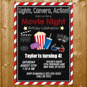 movie party invitation printable digital download girl birthday