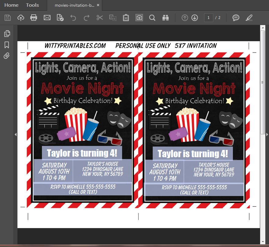 Movie Party Invitation Printable Digital Download Boy Birthday Party ...