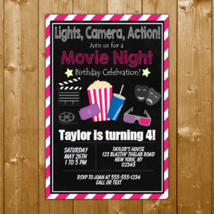 movie party invitation printable digital download boy birthday party