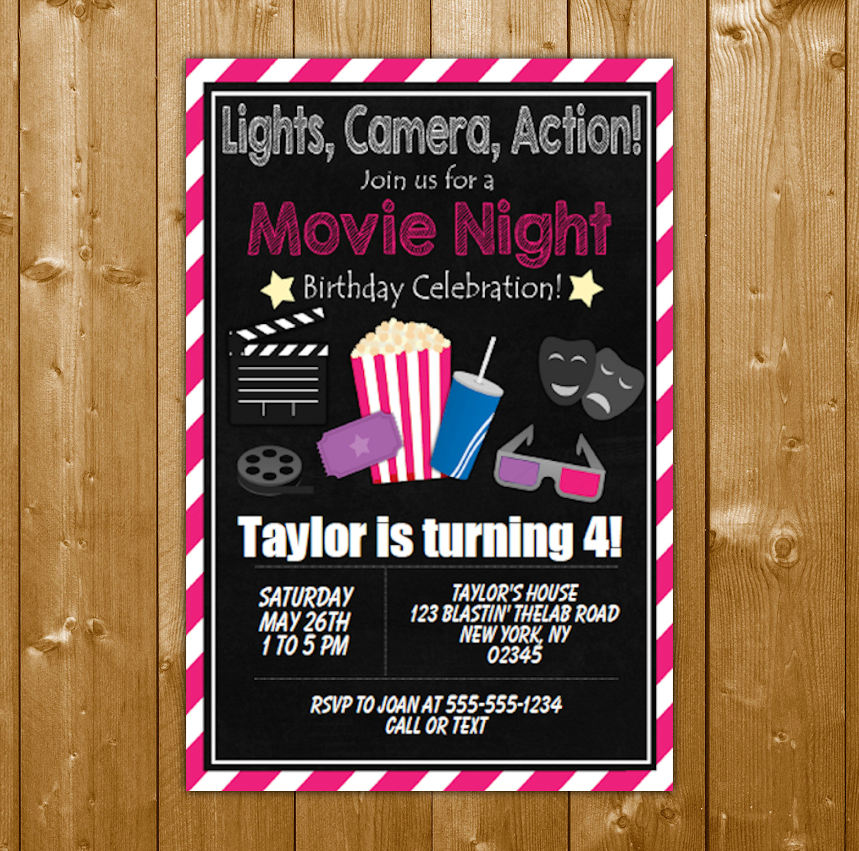 movie party invitation printable digital download girl