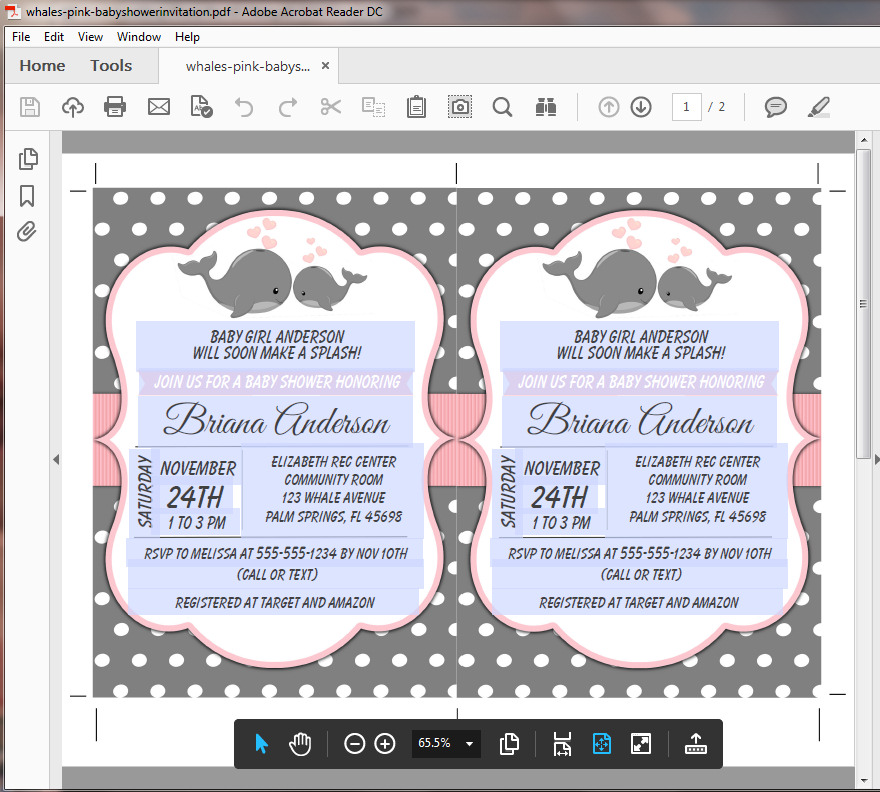 Baby Shower Invitation Pink Whales for a Girl Baby Shower ...