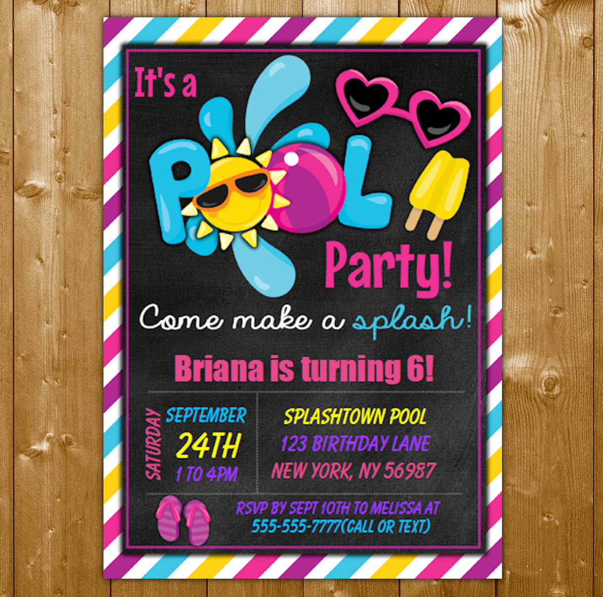 Giurl Pool Party Invitation Cute