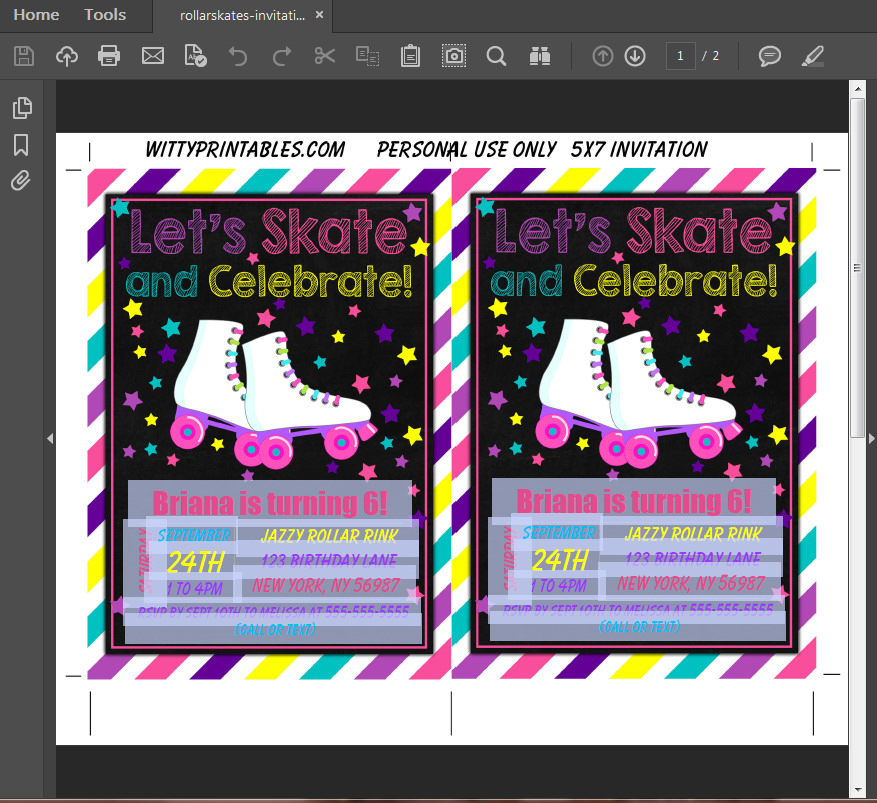 Roller Skating Party Invitation Printable Digital Download Birthday ...