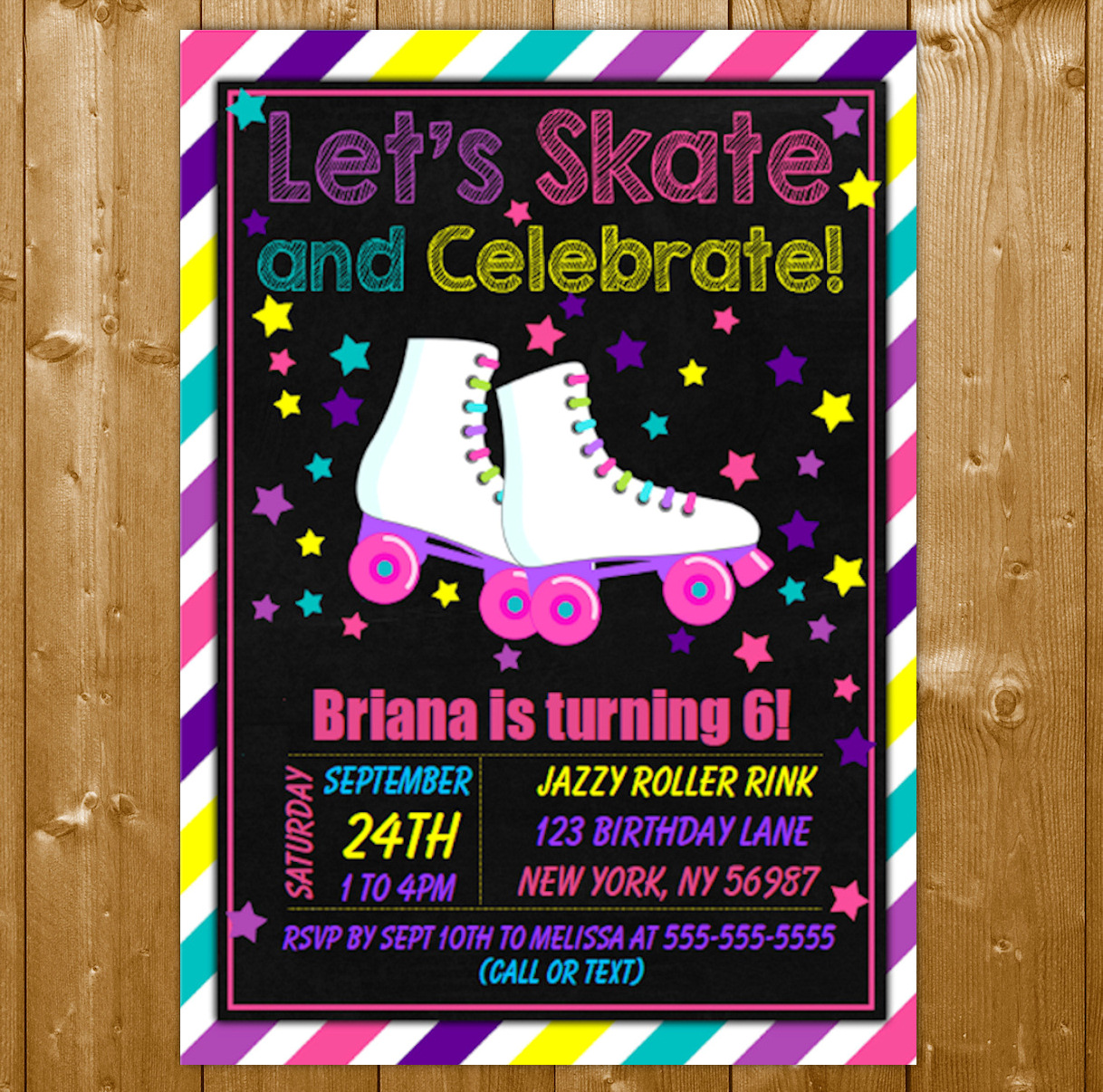 Roller Skating Party Invitation Printable Digital Download Birthday Invite