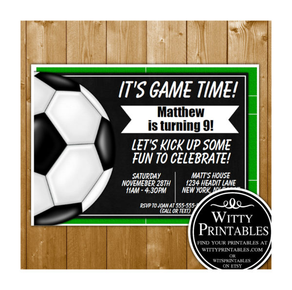 soccer party invitation printable digital download birthday party