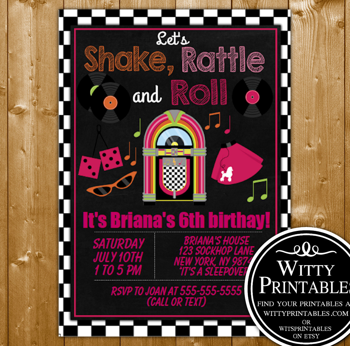 50s sock hop party invitation printable digital download girl