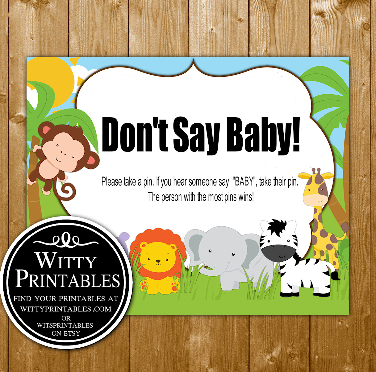 picture regarding Don't Say Baby Printable known as Dont Say Kid - Youngster Shower Sport - Safari Concept