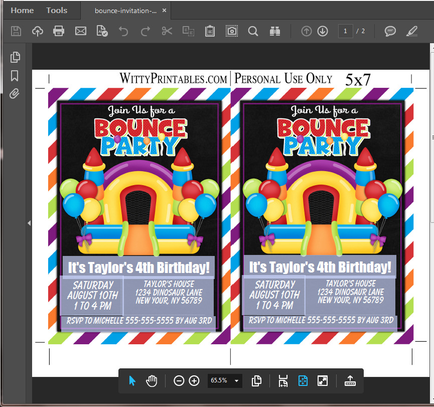 Bounce House Party Invitation Printable Digital Download Girl ...