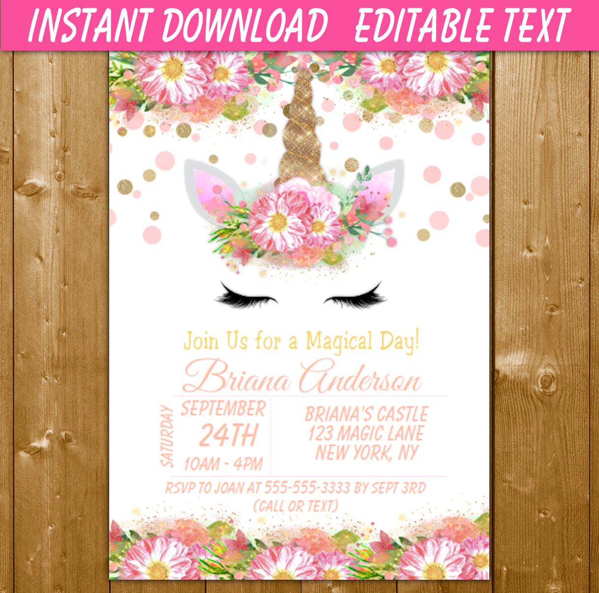 Unicorn Party Invitation Printable Digital Download Girl Birthday ...