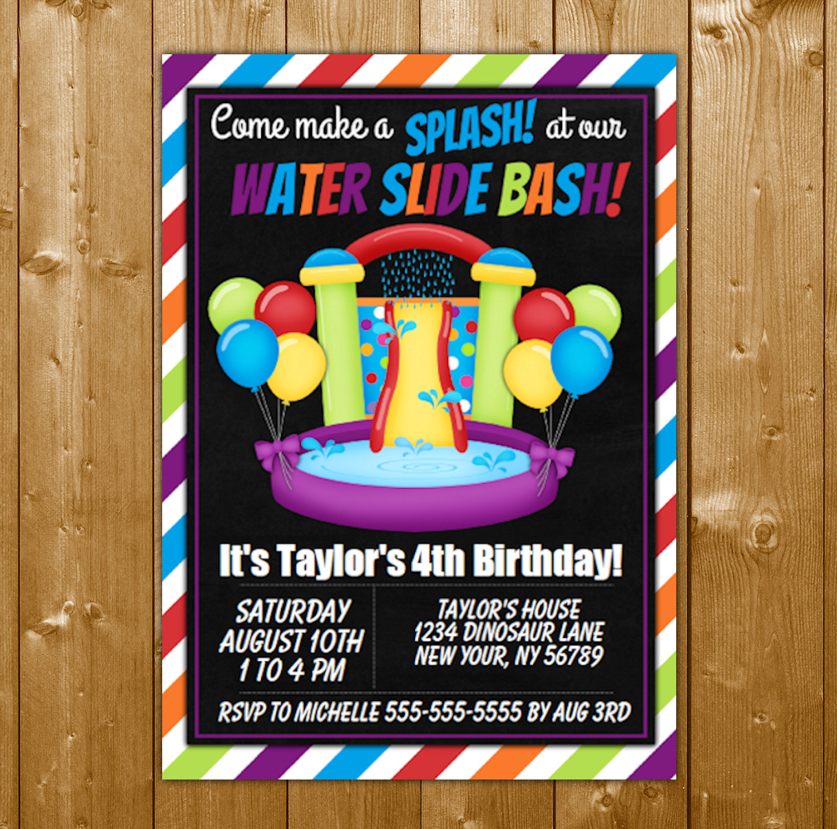 Water Slide Party Invitation Printable Digital Download Girl