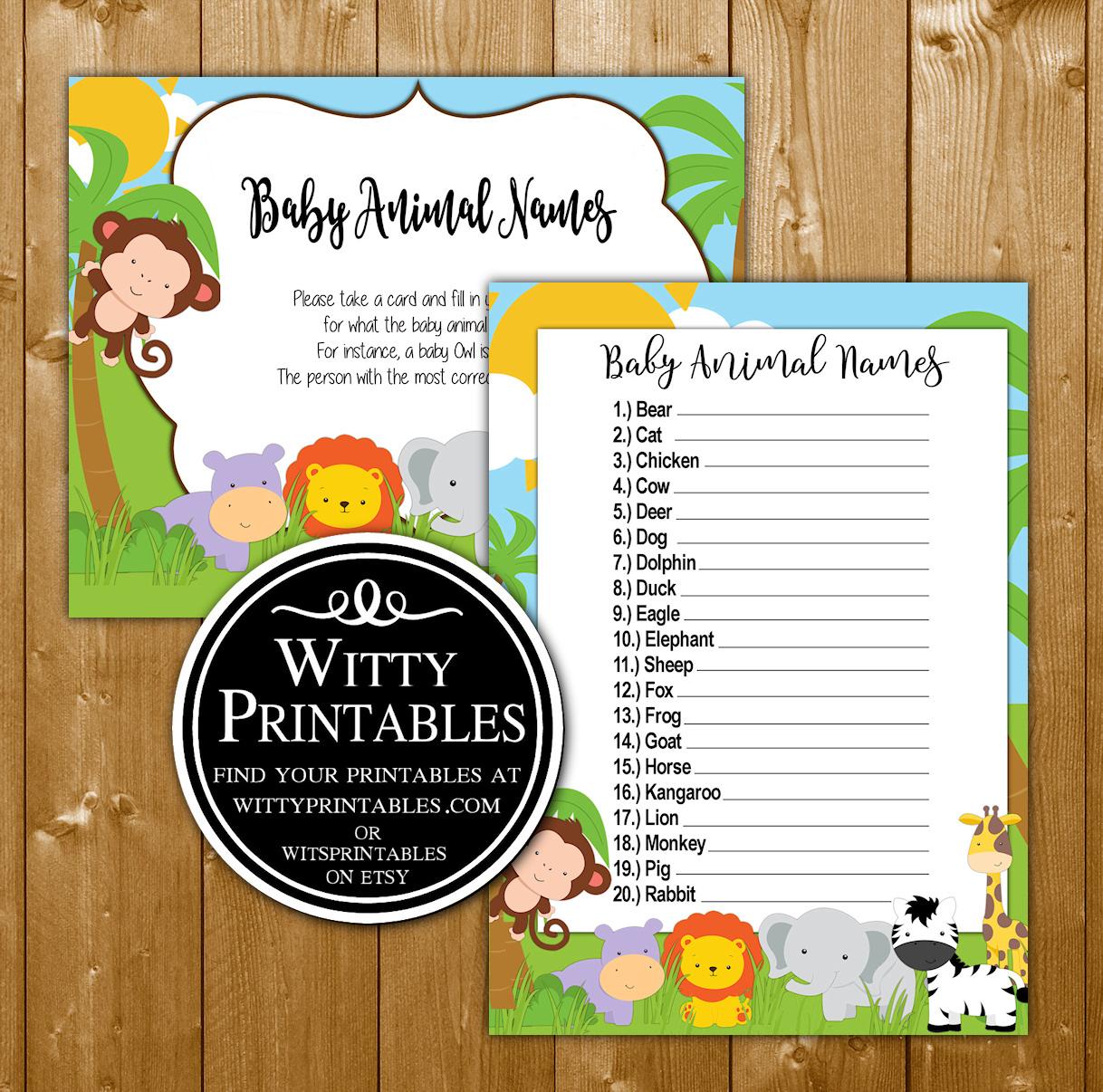 Safari Baby Shower Game Baby Animal Names Wittyprintables