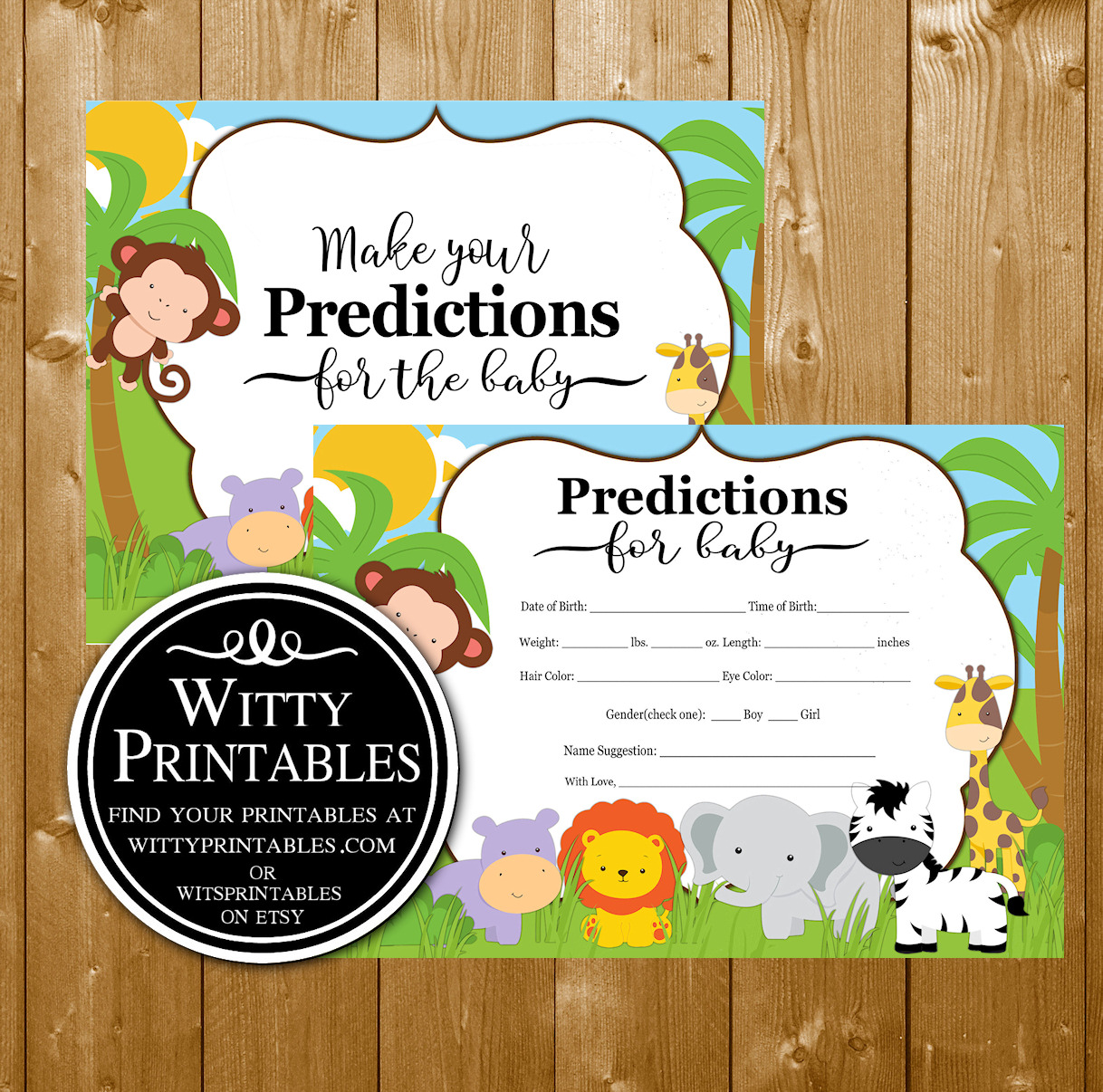 Safari Baby Shower Game Predictions Wittyprintables