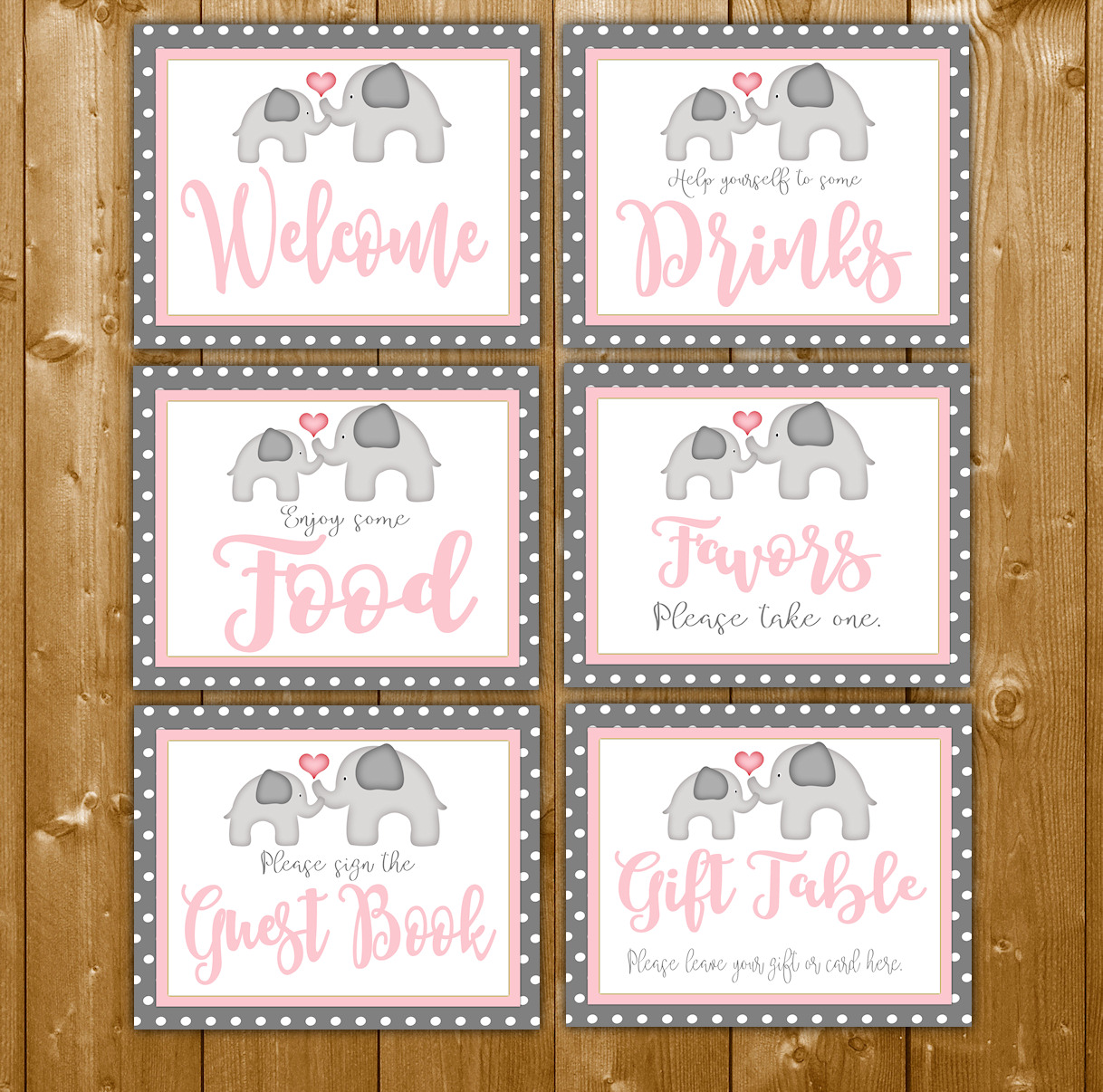 6 Baby Shower Signs Pack In The Pink Elephant Theme For Girl Wittyprintables