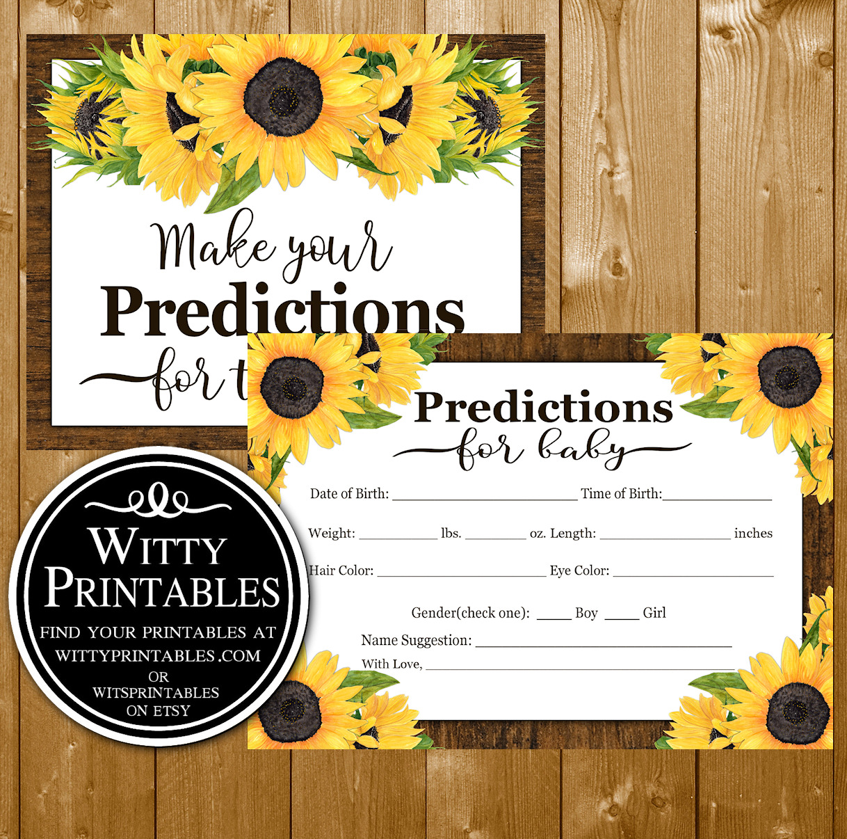 9ac67a797e2eb Predictions Baby Shower Game Sunflowers Theme