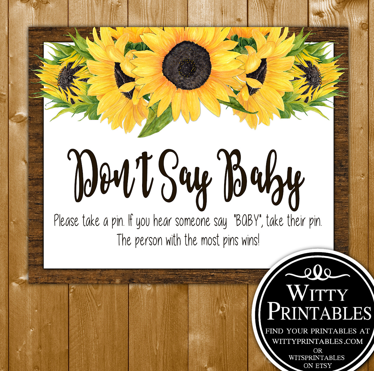 63ea96b0a899d Don't Say Baby - Baby Shower Game - Sunflowers Theme
