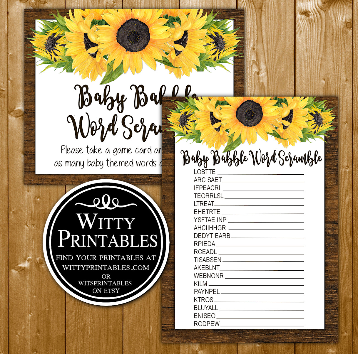 1ca238c3a0ca2 Word Scrabble Baby Shower Game Sunflowers Theme