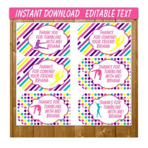 Gymnastics Favor Tags For Birthday Party Favors
