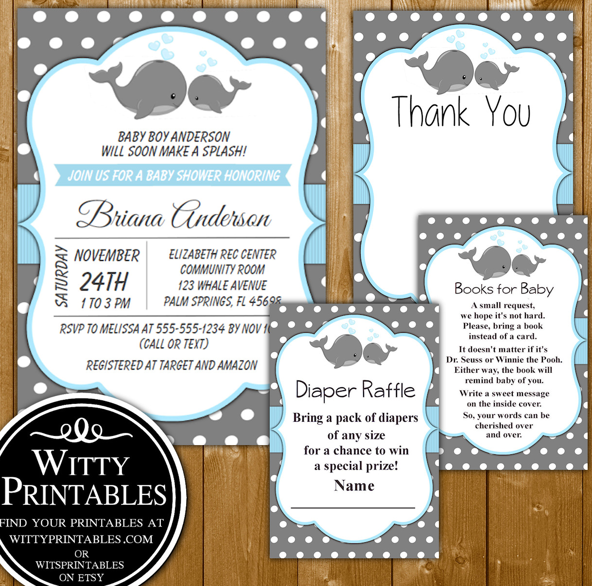 Baby Shower Invitation Set Blue Whales For A Boy Baby Invitation Books For Baby Diaper Raffle And Thank You Set Wittyprintables