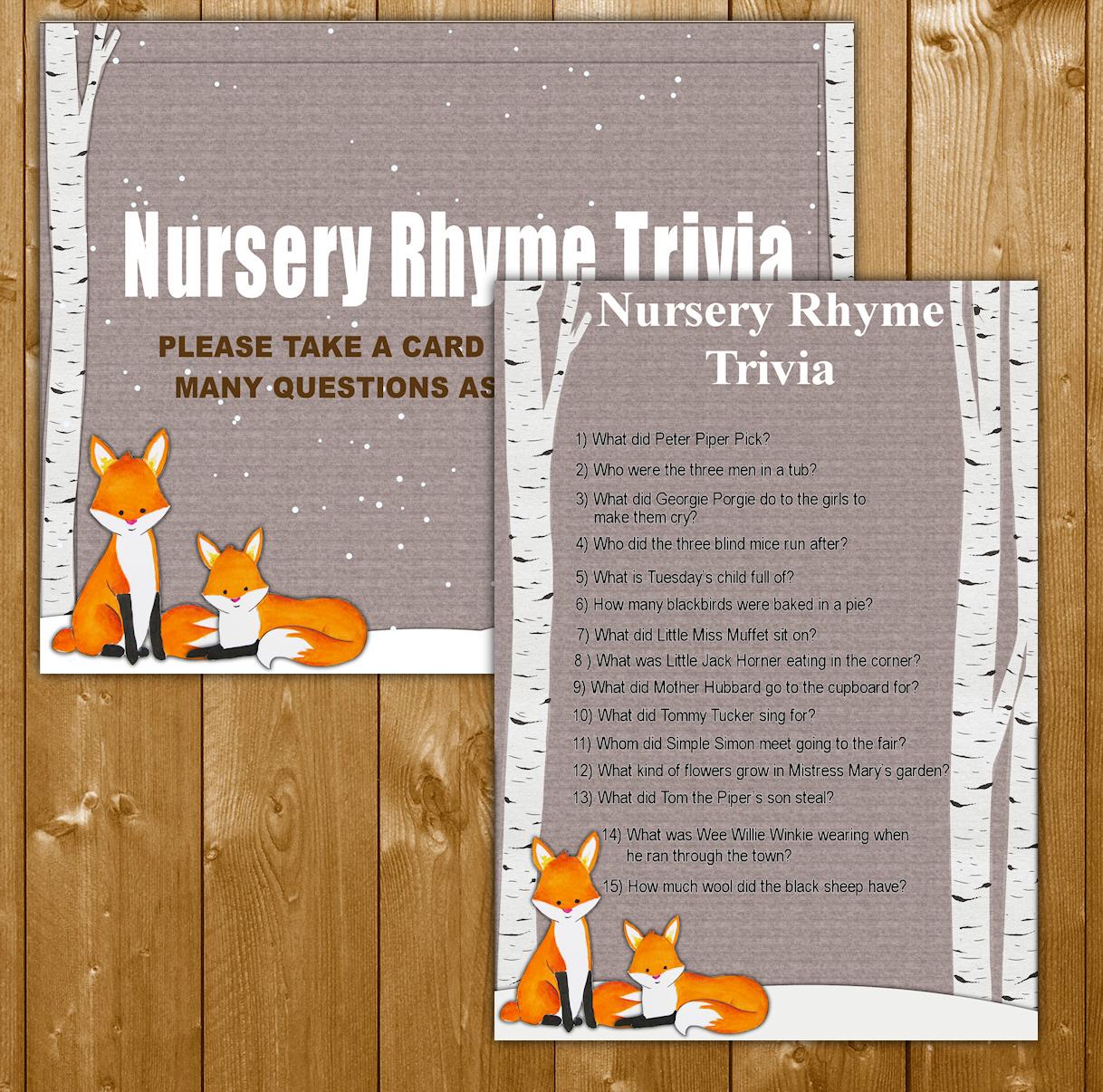 Winter Fox Baby Shower Game Nursery Rhyme Trivia Baby ...