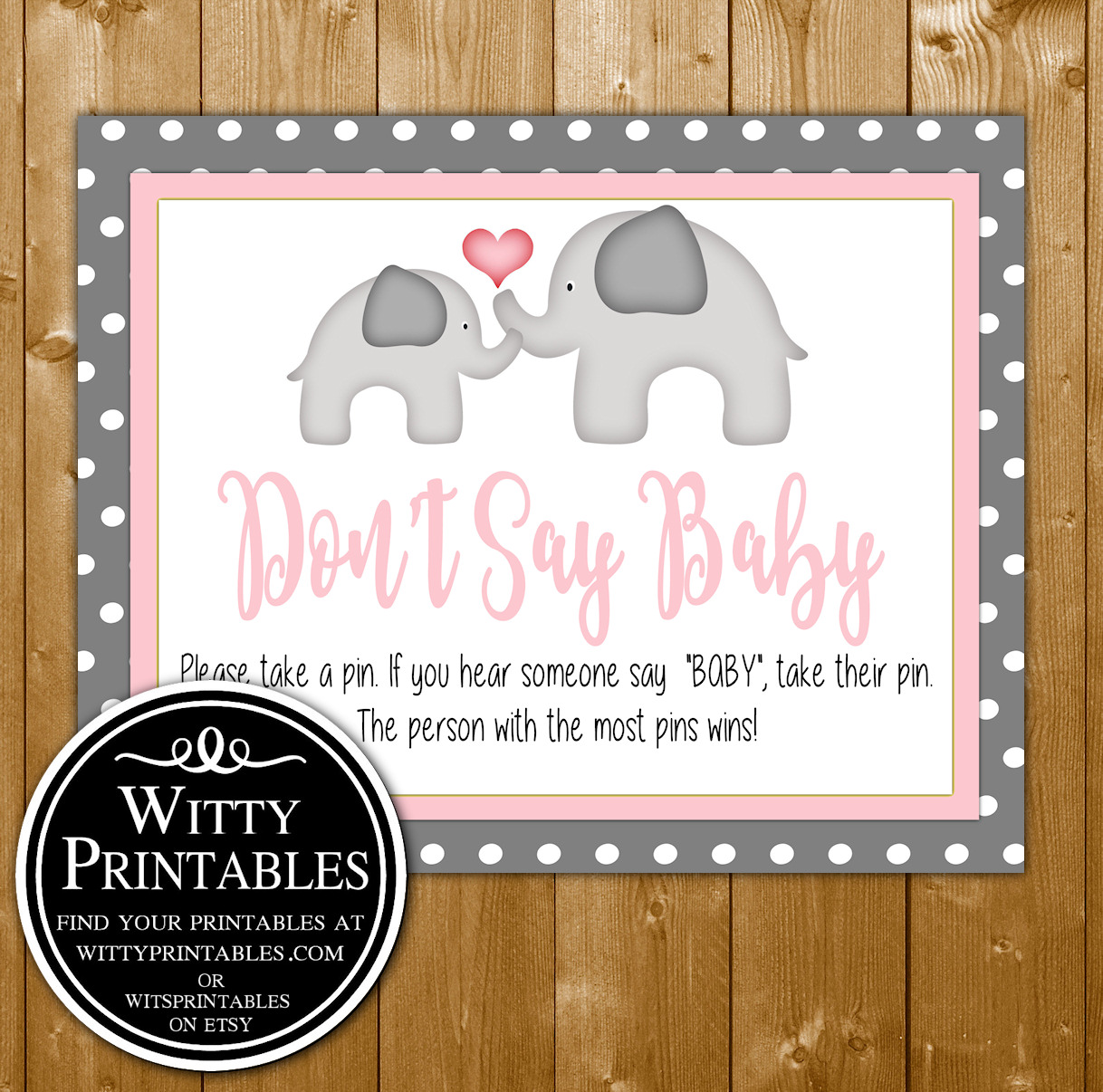 photograph regarding Don T Say Baby Printable titled Dont Say Little one Youngster Shower Match Printable Red Elephant Topic for a Woman Youngster Shower
