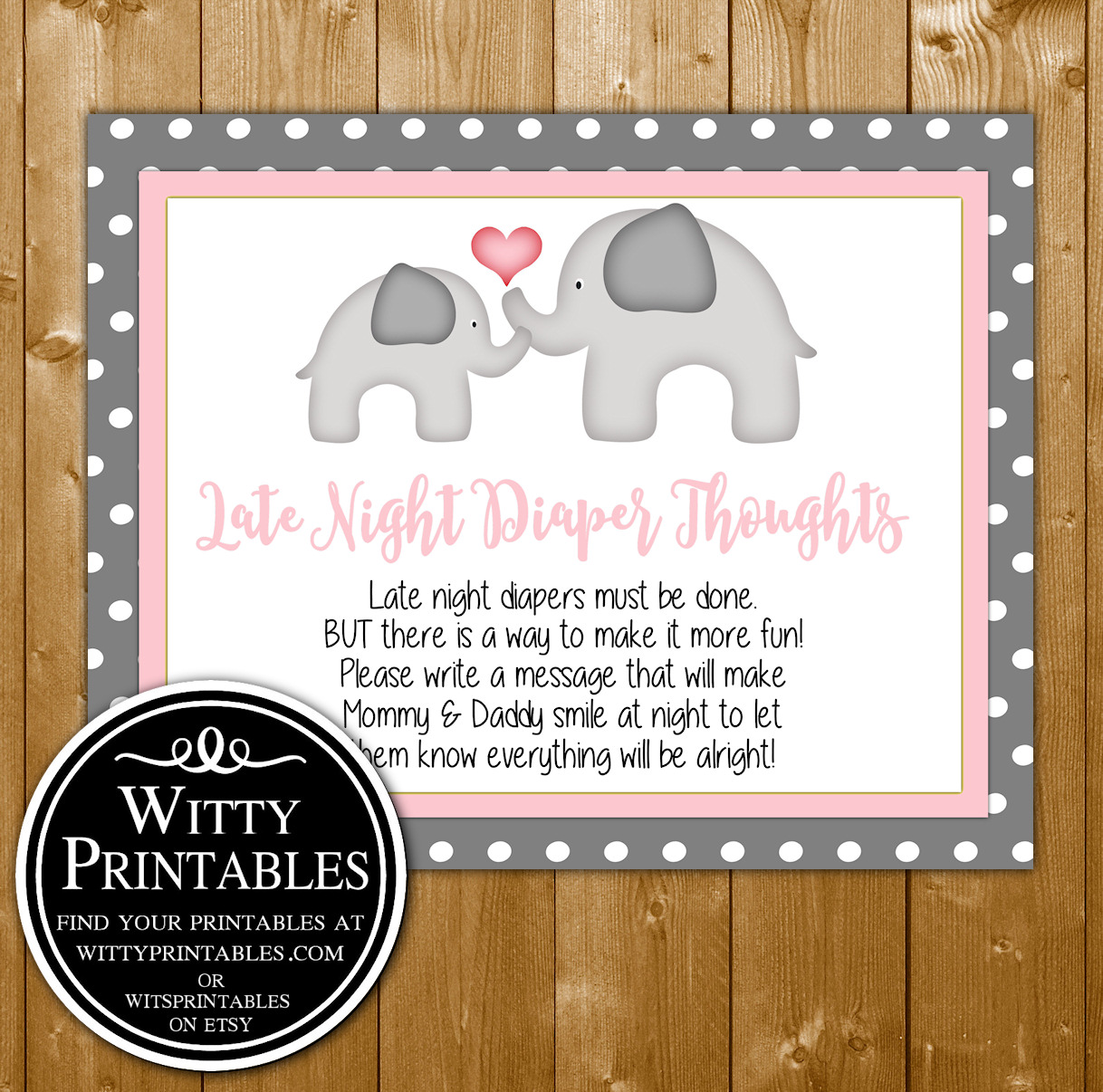 photo relating to Late Night Diapers Free Printable named Late Evening Diaper Issues Child Shower Video game Printable Purple Elephant Concept for a Female Boy or girl Shower