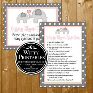 Books For Baby Shower Game Printable Pink Elephant Theme For A Girl