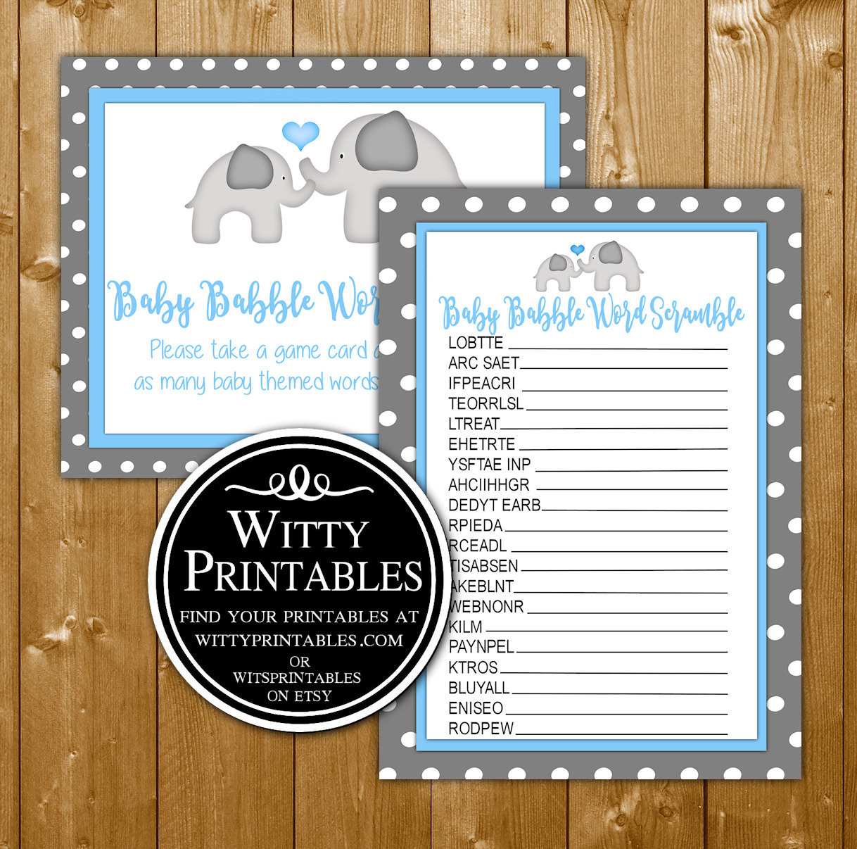 Word Scramble Baby Shower Game Printable Blue Elephant Theme For A