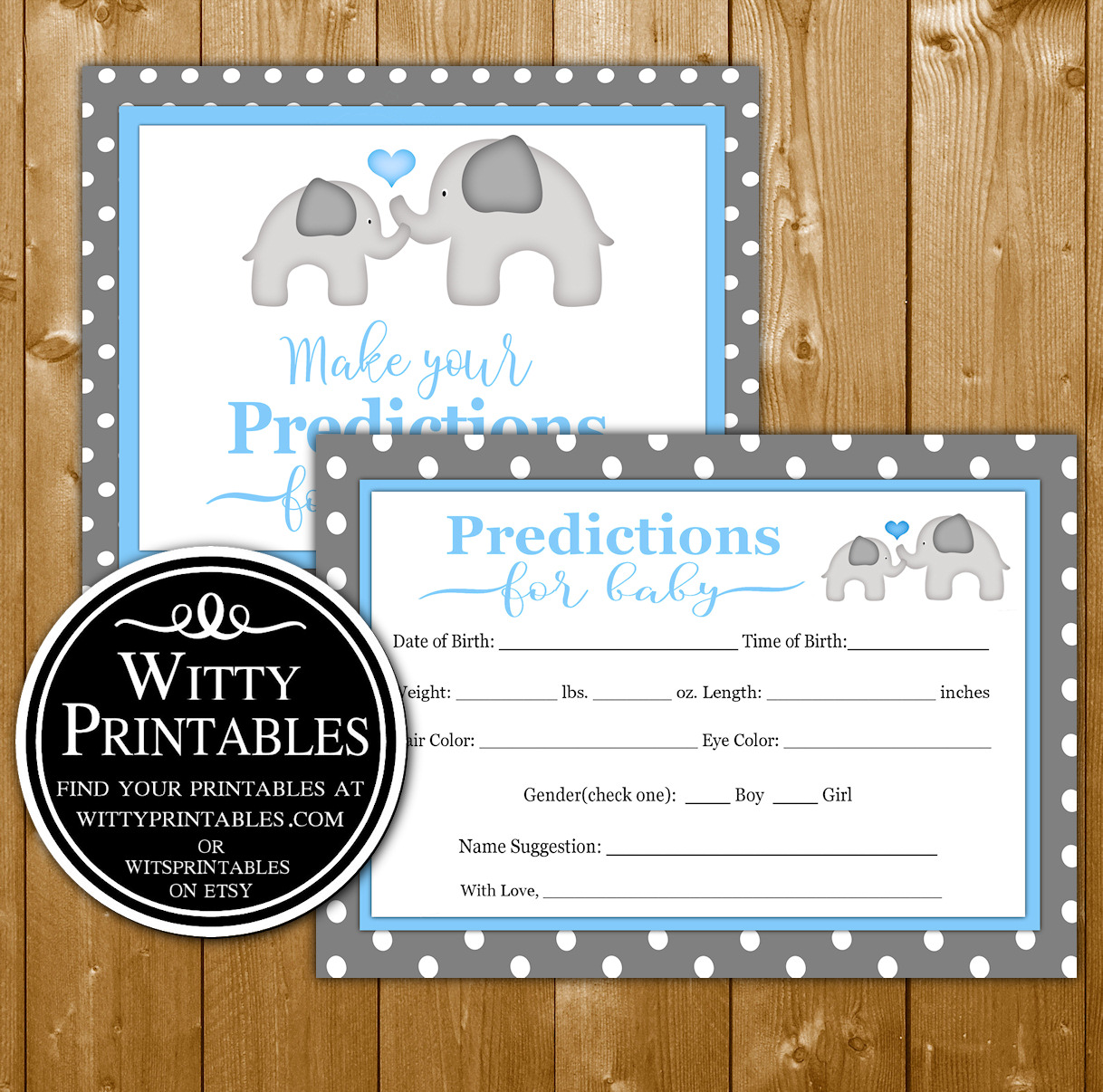 Predictions Baby Shower Game Printable Blue Elephant Theme for a Boy Baby  Shower