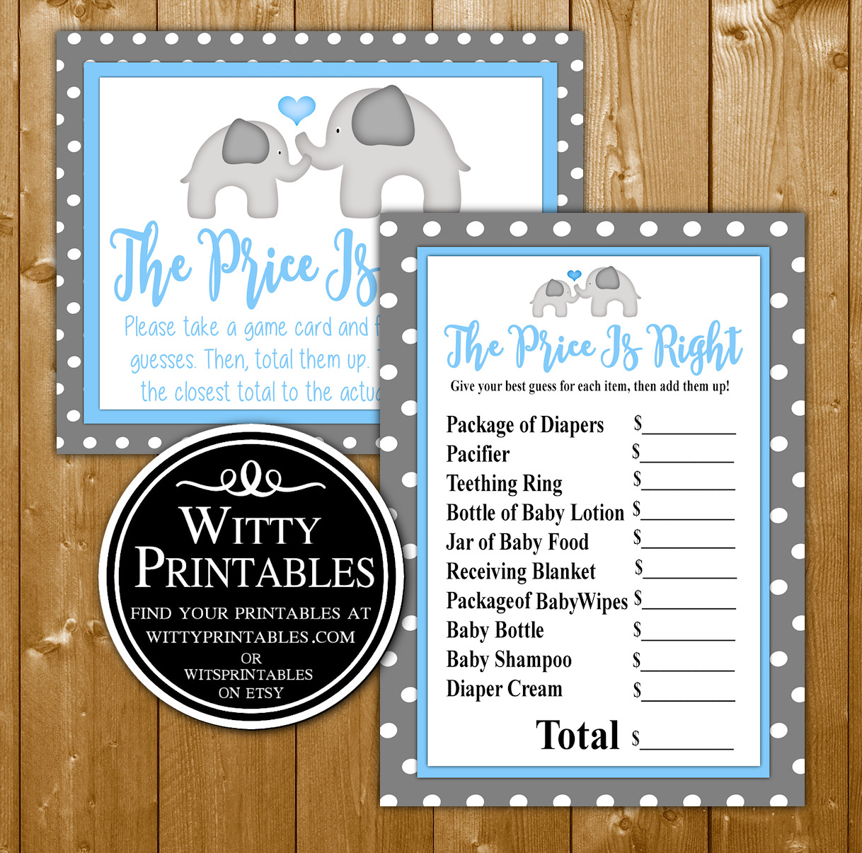 photograph relating to Baby Shower Price is Right Printable identify Selling price Is Directly Little one Shower Video game Blue Elephant Topic for a Lady Little one Shower