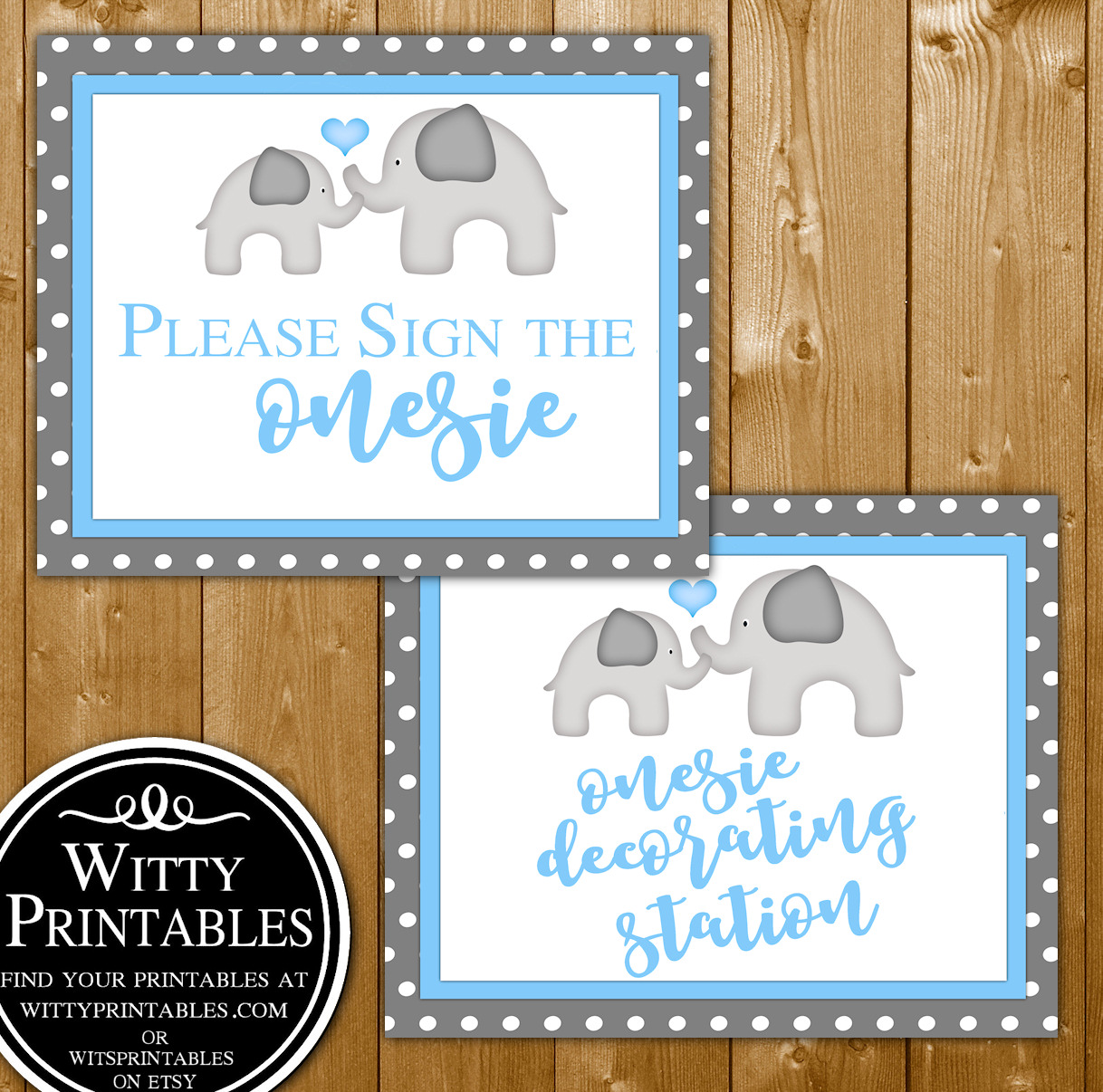 ab18a75562e78 Sign or Decorate a Onesie Baby Shower Game Printable Blue Elephant Boy Theme