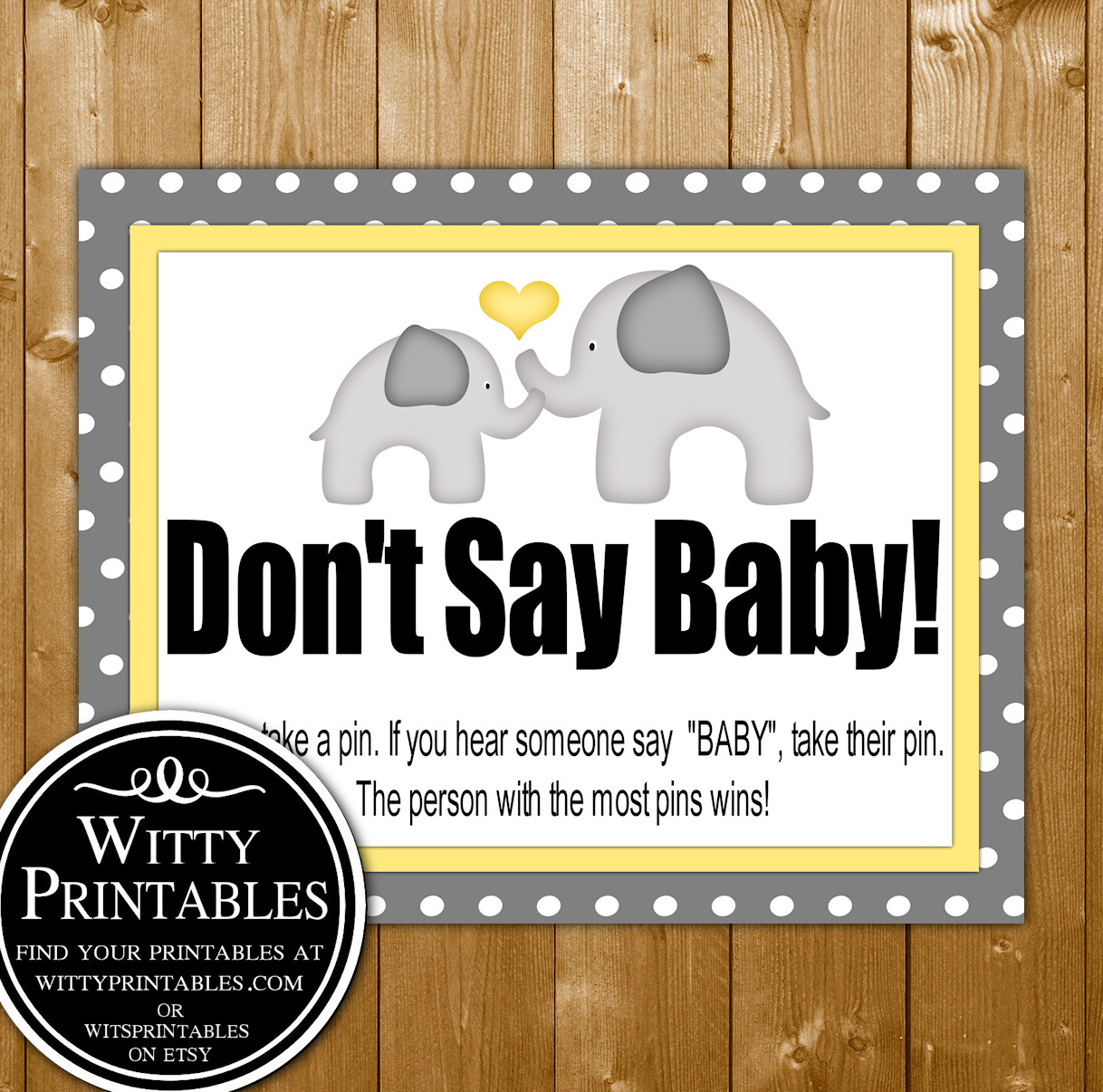 graphic relating to Don't Say Baby Printable identify Dont Say Youngster Child Shower Match Printable Yellow Elephant Impartial Topic