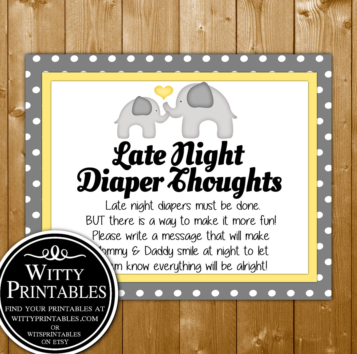 photograph about Late Night Diapers Printable identified as Late Evening Diaper Brain Youngster Shower Sport Printable Yellow Elephant Impartial Concept