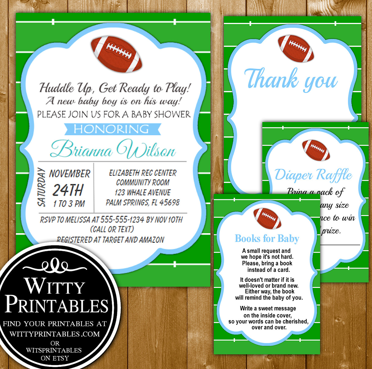 baby shower invitation set printable football themed for a boy baby