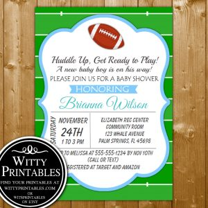 Football baby shower printables wittyprintables baby shower invitation printables football themed for a boy baby shower filmwisefo