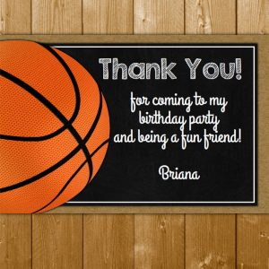 Basketball Thank You Card For A Birthday Party Or Team Event