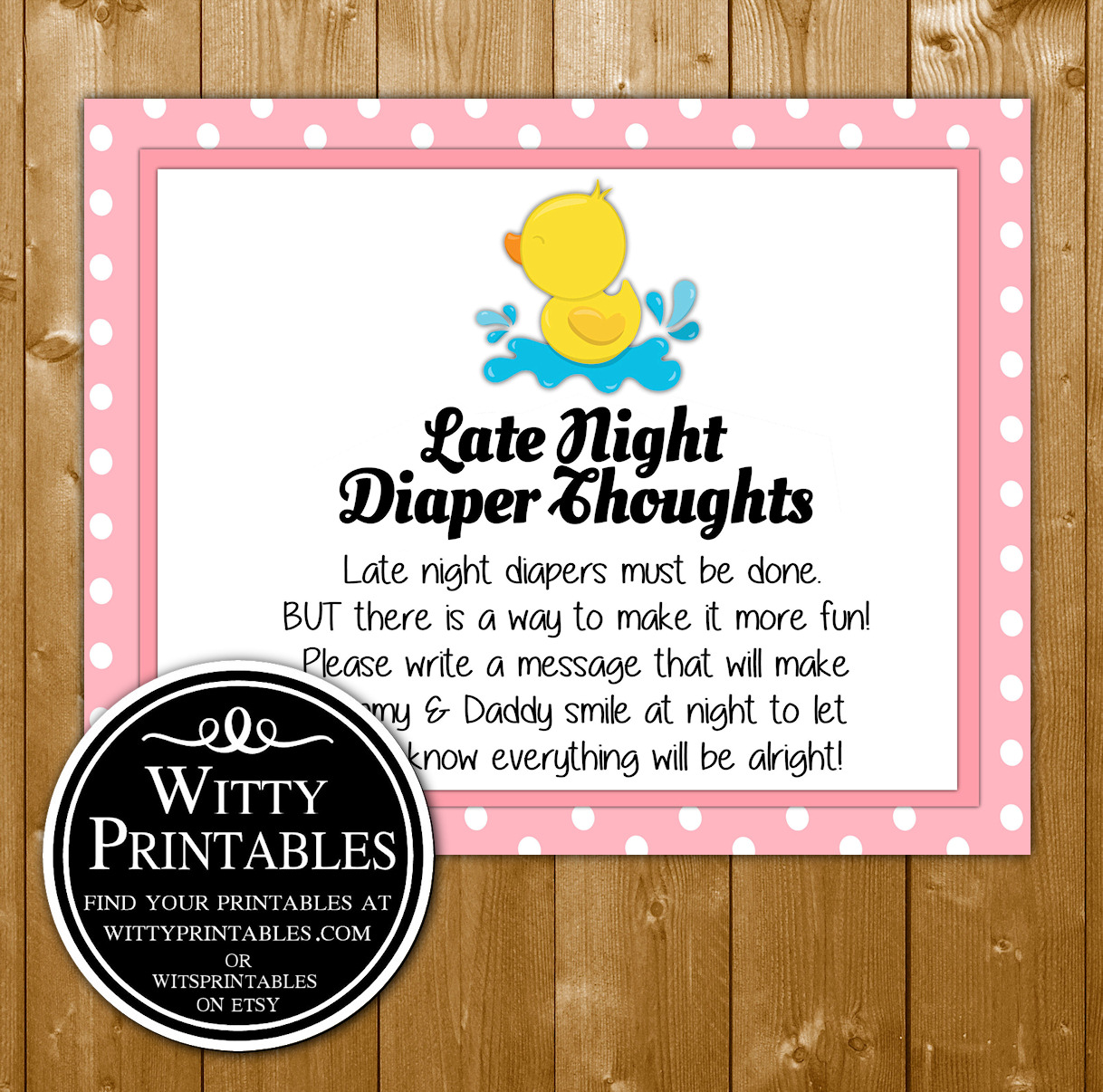 photograph relating to Late Night Diapers Printable referred to as Late Evening Diaper Brain Child Shower Video game Printable Crimson Duck Female Concept