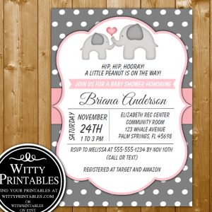 image relating to Late Night Diaper Sign Free Printable referred to as Elephant inside Red Grey Youngster Shower Printables WittyPrintables