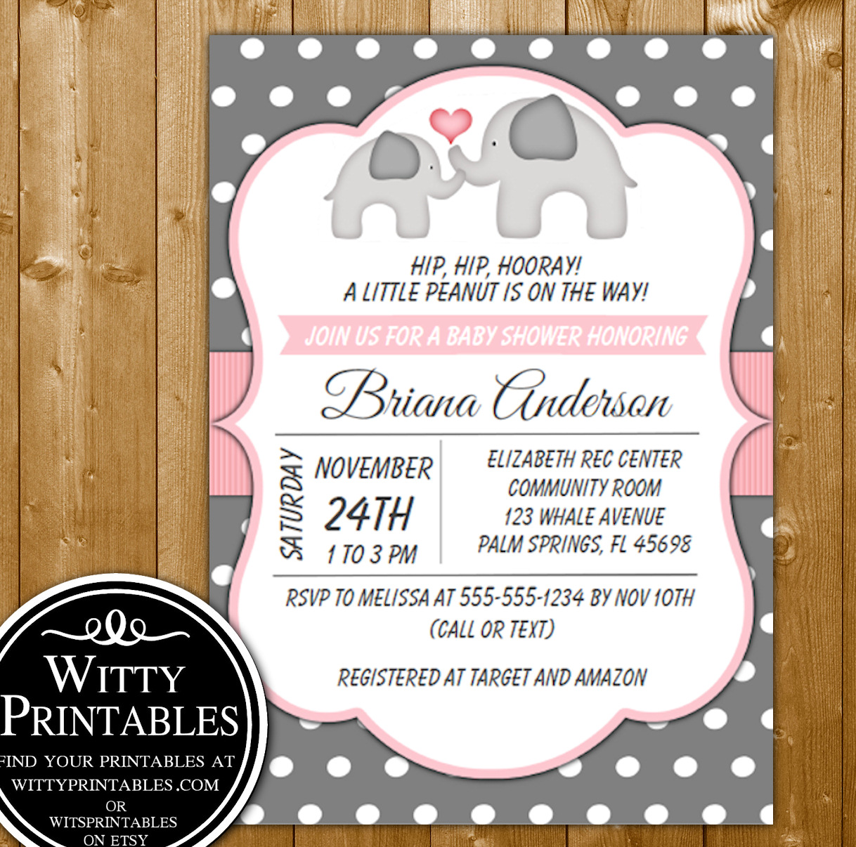 picture relating to Printable Girl Baby Shower Invitations called Kid Shower Invitation Red Elephants for a Female Child Shower