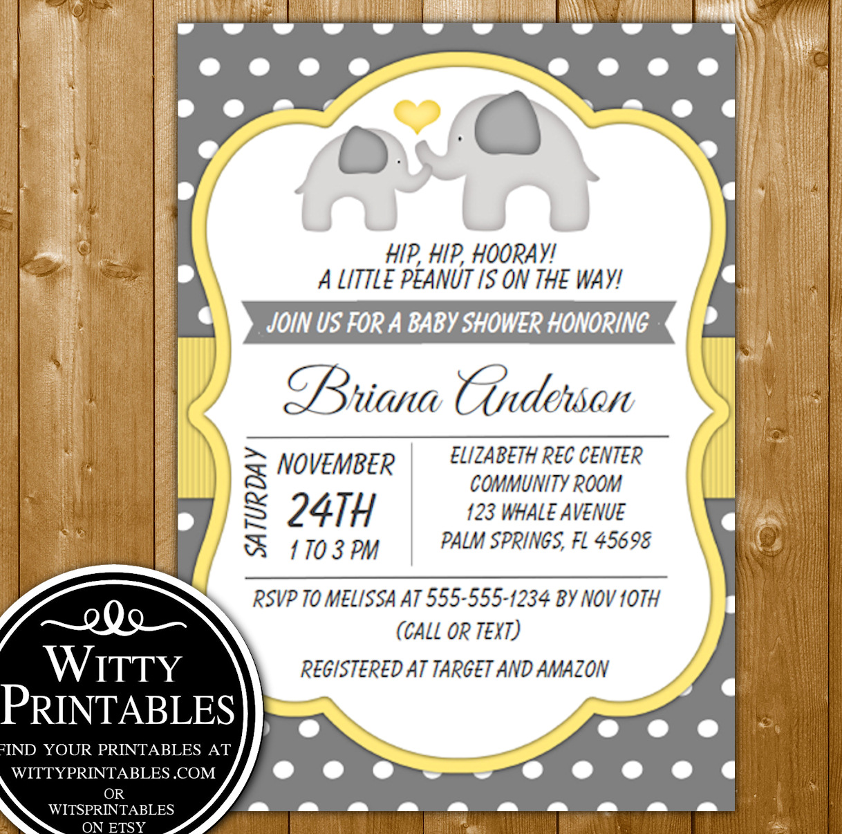 e4cd5f3b7 Baby Shower Invitation Yellow Elephants for a Neutral Baby Shower ...