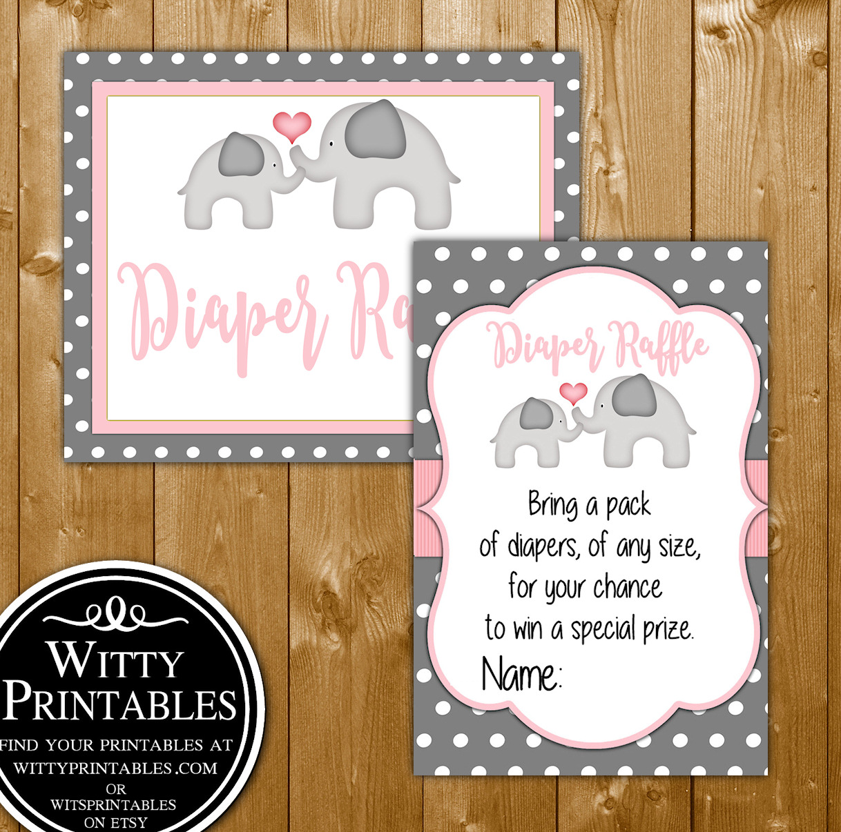 Pink Elephant Baby Shower Invitation Set For A Girl Baby Shower Wittyprintables