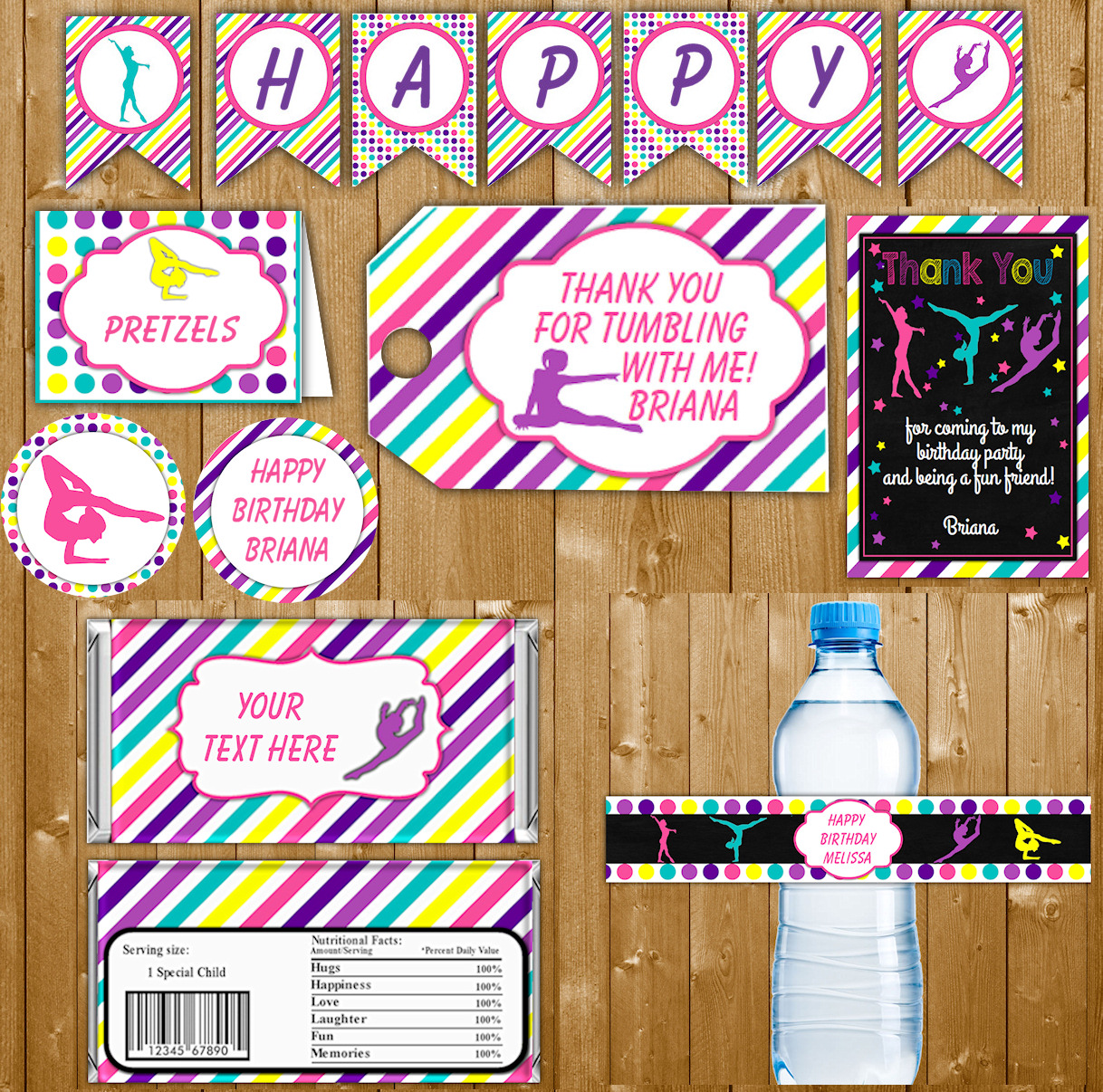 Gymnastics Party Package Printables