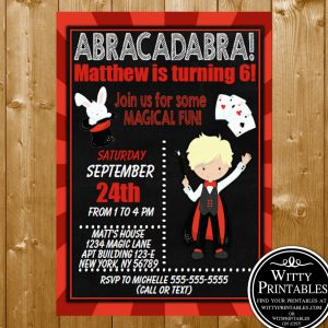 Magic Show Party Invitation Printable Digital Download Blonde Hair Boy Magician Birthday Invite